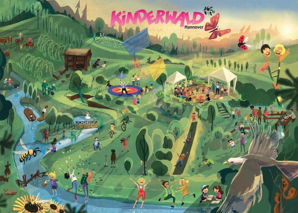 Wimmelbild Kinderwald